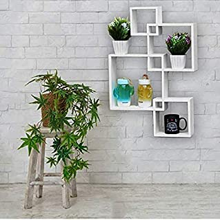 WOODKARTINDIA Intersecting Wall Shelf for Wall Decoration/Wall Shelves Set of 4 White/Wall Rack for Home Decor/Book Shelf ...