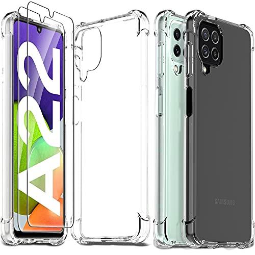 Ferilinso Cover per Samsung Galaxy A22 4G + 2 Pezzi Pellicola Protettiva Vetro Temperato [Transparente TPU Custodia] [10X Anti-Yellowing] [Anti-Antiurto] [Anti-Scratch] [9H Durezza]