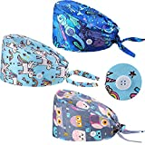 SATINIOR 3 Pcs Bouffant Cap with Button Sweatband Tie Back Hat for Women Men(Dragonfly, Unicorn, Owl)