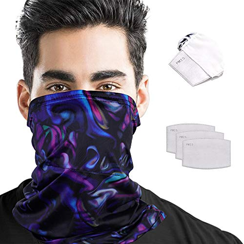 Bandana Face Mask Men with Filters Breathable Neck Gaiter Mask for Women Lightweight Face Coverings UV Sun Scarf Masks