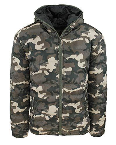 Evoga Chaqueta de plumón para hombre, militar, de camuflaje, de invierno, chaqueta bomber impermeable Verde Beige L