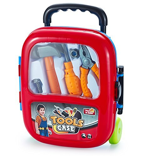 JaxoJoy 10 Piece Kids Tool Set - Pretend Play Construction Tools - With Toolbox Case