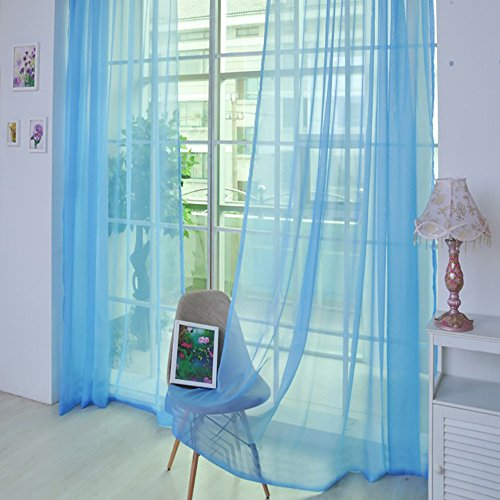 Tuttavia 1 STÜCKE Reine Farbe Tüll Türfenstervorhang Drapieren Panel Sheer Schal Volants (Multicolor 32K)