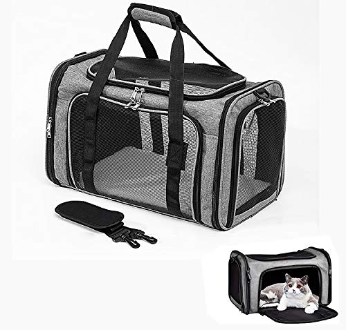 GLANT Cat Carriers Dog Carrier Pet Carrier for Small Medium Cats Dogs Puppies of 15 Lbs, TSA Airline Approved Small Dog Carrier Soft Sided, Collapsible Puppy Carrier - Black Grey (Grey)