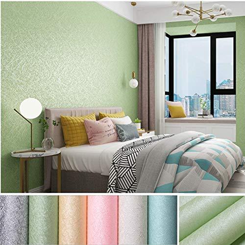 KINLO Selbstklebend Tapete wasserfest Wandtapete mit Seidenfaden Muster 61 x 500cm Wandaufkleber Klebefolie für Wohnzimmer TV Hintergrund Wand (Hellgrün)