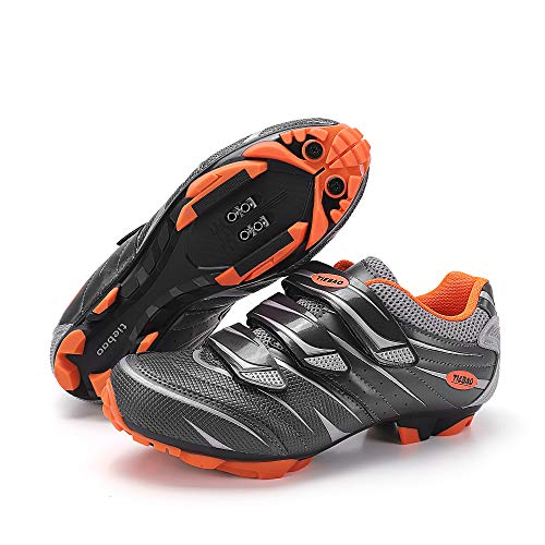 Men Women Outdoor MTB Mountain Bike and Indoor Spinning Class Peloton Cycling Shoes Compatible with 2-Bolt Cleats grey Size: 6.5 UK