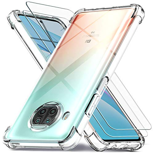 Ferilinso Cover per Xiaomi Mi 10T Lite 5G + 2 Pezzi Pellicola Protettiva Vetro Temperato, [Transparente TPU Custodia] [10X Anti-Yellowing] [Anti-Antiurto] [Anti-Scratch]
