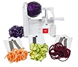 Paderno World Cuisine 3-Blade Vegetable Slicer / Spiralizer, Counter-Mounted and includes 3 Stainless Steel Blades