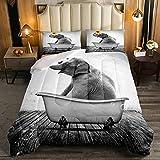 Juego de edredón de tamaño individual, diseño de elefante feliz jugando girasol, edredón rústico para bañera gris con 1 funda de almohada para todas las estaciones, individual
