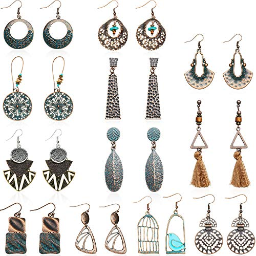 12 Paar Vintage Ohrringe Türkis Ohrringe Böhmische Ohrringe Vintage Baumeln Ohrringe Geometrische Baumeln Anhänger Ohrringe für Damen Mädchen (Stil A)