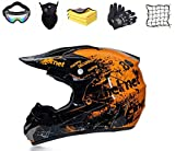 Casco da motocross per bambini, casco da cross per bambini, con guanti, occhiali di protezione,...