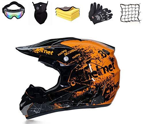 Casco de motocross para niños, con guantes, gafas de protección, para descenso,...