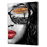 SADHAF Impresión de lienzo Personalidad Gafas Chica Media cara Pintura Decoración Sala de estar Imagen Decoración del hogar Habitación Art Deco Imprimir A6 70X100cm