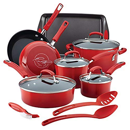Rachael Ray Brights Nonstick Cookware Pots and Pans Set, 14 Piece, Red