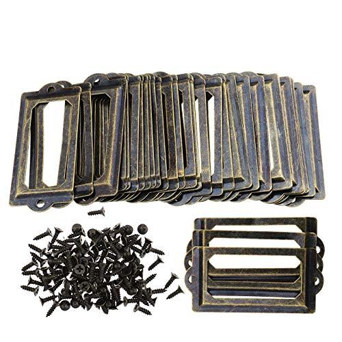 30 Stücke 70x33mm Bronze Metall Büro Aktenschrank Regale Schublade Name Karte Label Tags Halter Rahmen mit Schrauben