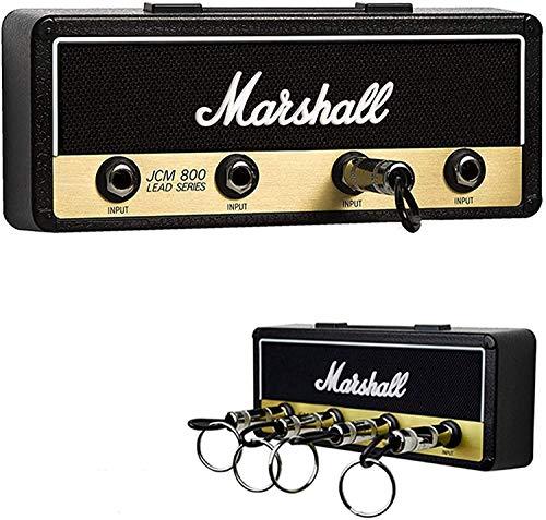 Marshall Portachiavi a parete, MYSHELL Portachiavi Jack II Rack 2.0 JCM800 Gancio per amplificatore per chitarra Montaggio a parete Articoli per la casa, con 4 portachiavi, Nero
