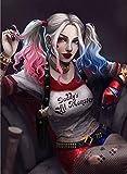 AGjDF Harley QuinnDIY Pintura de por números-Lienzo preimpreso-óleo Regalo para Adultos Niños Pintura por Numero Kits Decoración del Hogar_40x50cm