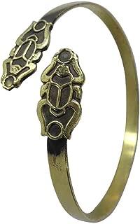 bonballoon Egyptian Pharaoh Handmade Brass Bracelet Cuff Ankh Key Tut Isis Horus eye Life Scarab beetle Luck Hieroglyphics Cartouche Pharaoh's Costume Jewelry Accessory Hieroglyphic 108