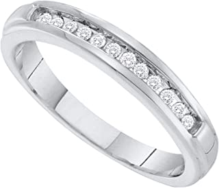 FB Jewels 10kt White Gold Womens Round Diamond Single Row Band Ring 1/8 Cttw Size 7