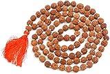 JX2 Rudraksha Mala 108 Beads necklace, Seed Bead Natural Himalaya Rudraksha Seed Prayer Beads Wrist Mala Wrap Bracelet Bead size 9 mm