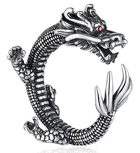 RXISHOP Anillo de plata S925 para hombres y mujeres, estilo retro, diseño de dragón noble, anillo de boda para novio o padre 16-22#