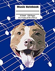 Music Notebook: 120 Blank Pages 12 Staff Music Manuscript Paper Colorful Pitbull Head Cover 8.5 x 11 inches (21.59 x 27.94 cm)