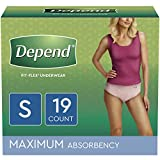 Depend FIT-FLEX Incontinence Underwear for Women, Disposable, Maximum Absorbency, Small, Blush, 19 Count