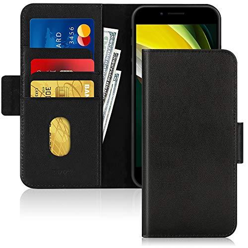 FYY iPhone SE Hülle(2020),ihpone 7 Hülle/iPhone 8 Handyhülle mit[Rindsleder Echtem Leder] Flip Brieftasche Hülle [Ständer-Funktion]mit 3 Kartensteckplätze für iPhone SE Ledertasche,Schwarz