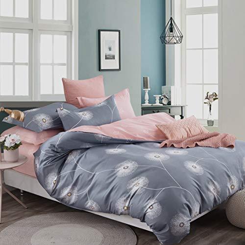 KEAYOO Bettwäsche 155x 220Baumwolle Grau + Rosa mit Löwenzahn Wendebettwäsche80x80 Kissenbezug mit Reißverschluss 2teilig Set
