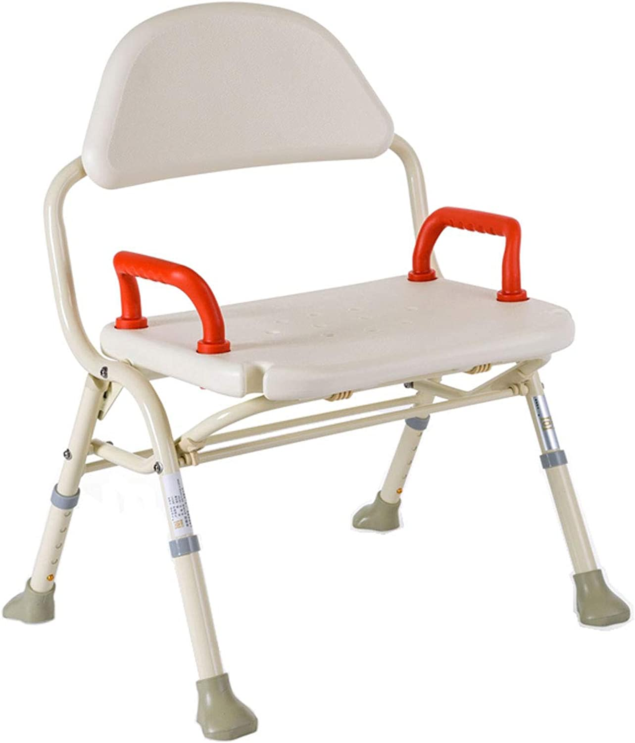 Folding Bath Seat Shower Bench Height Adjustable with Arm & Back