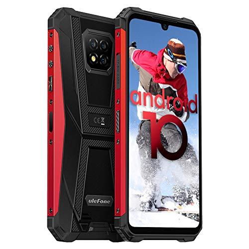 Ulefone Armor 8 Handys Wasserdicht - Staubdicht Fallfester Android 10 AI Qcta-Core Prozessor 4+64GB 6,1-Zoll-Bildschirm 16+8MP Kameras(Marco Objektiv) Outdoor Smartphone ohne Vertrag (Rot)