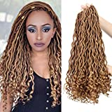Dorsanee Curly Faux Locs Crochet Hair Deep Wave Goddess Loc Crochet Braiding Hair Synthetic Braids Hair Extension 18 Inch New Fashion Soft Blonde Hair Style(6Packs,27#)