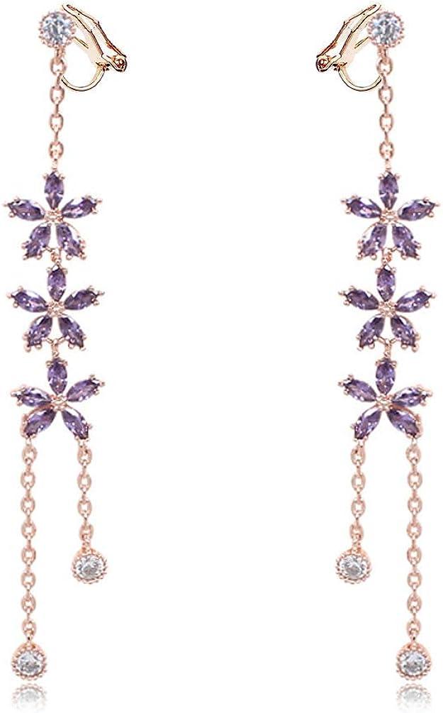 Cubic Zirconia Clip on Flower Earrings no Pierced Soft Pads Purple Rhinestone Dangle CZ Drop Long Tassel