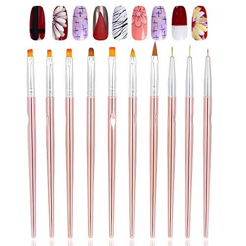 Ealicere 10 stücke Nagel Pinselset, UV-Gel Nagel Kunst Pinsel Design Set -für Nailart, UV-Gel, Acrylfingernägel Nailart