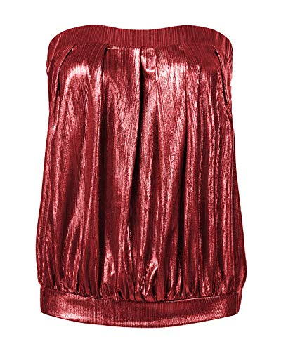 ZANZEA Mujer Camisetas Tirantes Verano Sexy Tube Top Sin Tirantes Lentejuelas Blusa Elegante Playa Strapless Plisado Fruncido 01X-Vino Rojo XXL
