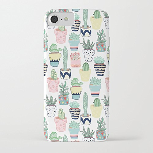 ZQ-Link iPhone 7 Funda, iPhone 8 Funda,Funda de Silicona Suave Case Cover Protección cáscara Soft Gel TPU Carcasa Funda,Premium Pintura Colorido Creativa Ultra Delgado- Cute Green Cactus Diseño