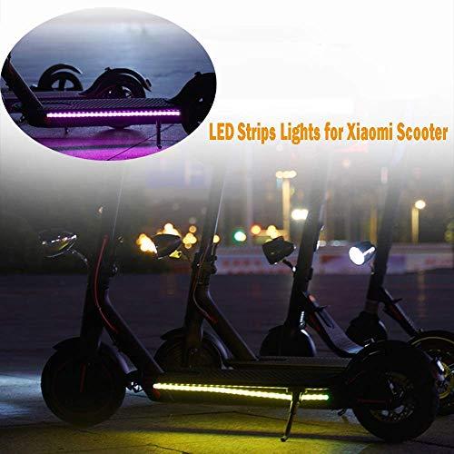 SYXX Pedal-Taschenlampe, elektrisches Roller-Licht, kreativer Skateboard-Licht-Gurt, 2 faltbare Farben-LED-Lichtleisten for Fahrrad-Sicherheits-dekorative Leuchten, Pro Modified Zubehör M365 Scooter B