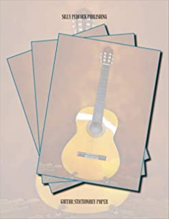 Guitar Stationary Paper: Guitar Music Stationery Letterhead Paper, Set of 50 Sheets for Writing, Flyers, Notes, Crafting, ... Events, School & Office Supplies, 8.5 x 11 Inch