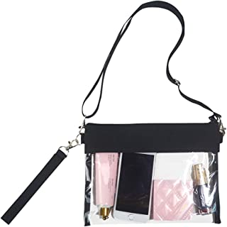 Clear Crossbody Purse Bag - NFL,NCAA & PGA Stadium Approved Clear Shoulder Tote Bag with Adjustable Shoulder Strap and Wrist Strap for Work, School, Sports Games