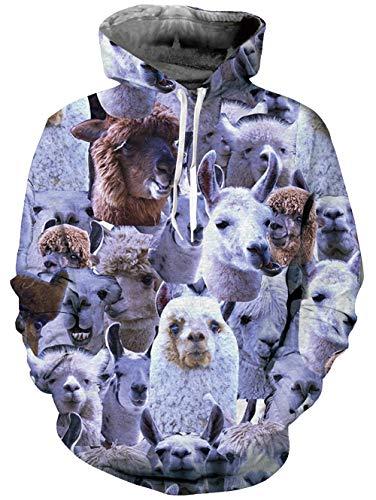 Loveternal Unisex 3D Print Hoodies Gedruckten Alpaka Coole Crewneck Pullover Kapuzen Sweatshirts für Damen Herren L