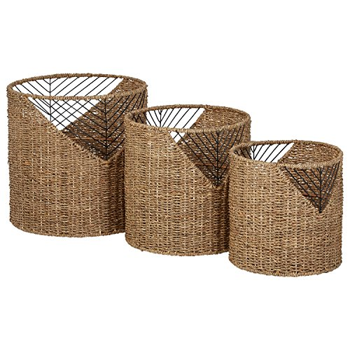 Amazon Brand – Stone & Beam Modern Round Seagrass Storage Basket Set - Pack of 3