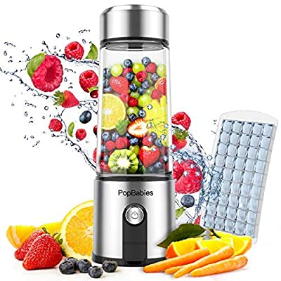 Portable Blender Glass, PopBabies Smoothie Blender to go, Rechargeable USB Blender with travel, Wireless Personal Blender Protein Shaker 5200mah by