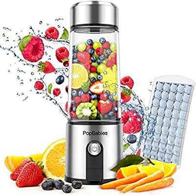 Portable Blender Glass, PopBabies Smoothie Blender to go, Rechargeable USB Blender with travel, Wireless Personal Blender Protein Shaker 5200mah 25+ per charge
