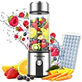 Portable Blender Glass, PopBabies Smoothie Blender to go, Rechargeable USB Blender 14OZ 2 Batteries 5200mah, Wireless Personal Blender Protein Shaker