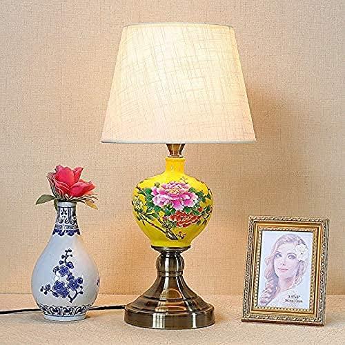 JFFFFWI Apliques Pintados a Mano Todas Las Flores florecen Juntas Lámpara de Mesa Figuras de Porcelana Tradicionales Acabado Lámpara de Escritorio Pies Altos Soporte de Cobre Cepillado LED E27 Compa