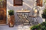 Dekoleidenschaft Gartentisch aus Metall & Holz im Antik Design, klappbar