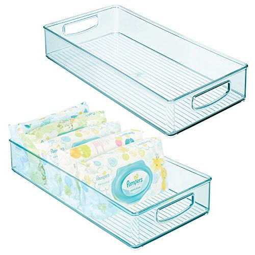 mDesign Juego de 2 cestas organizadoras para el cuarto del bebé – Contenedor plástico grande con asas y sin tapa – Amplia caja para juguetes, pañales, peluches y más en plástico sin BPA – azul claro