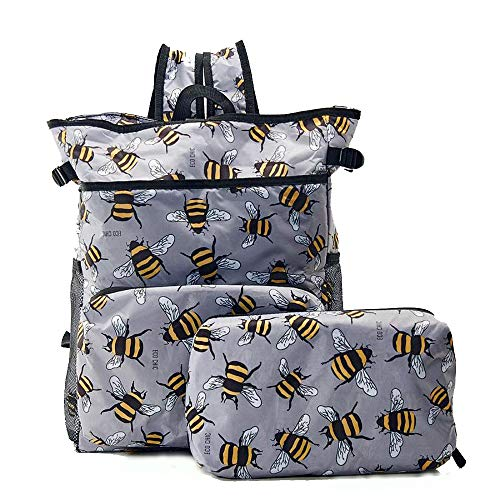 ECO CHIC Lightweight Foldable Backpack Cooler - Ruck Sack Cool Bag - Bees (Grey) J10GY
