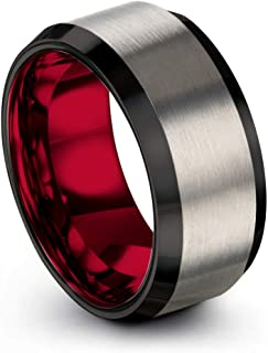 Tungsten Carbide Wedding Band Ring 10mm for Men Women Green Red Blue Purple Black Grey Copper Fuchsia Teal Bevel Edge Brushed Polished
