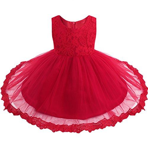 iiniim Bébé Fille Lace Robe de Mariage soirée Dentelle Tulle Florale Noeud Papillon Robes Princesse Baptême 3-24 Mois (12-18 Mois, Rouge)